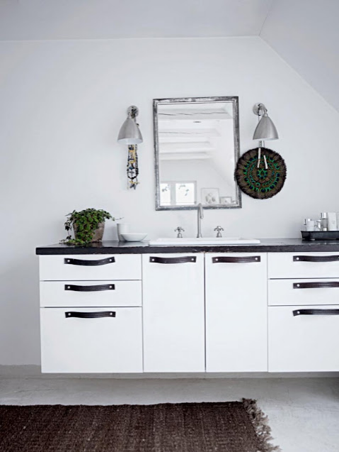 Leather Drawer Pulls Bathroom Cabinet