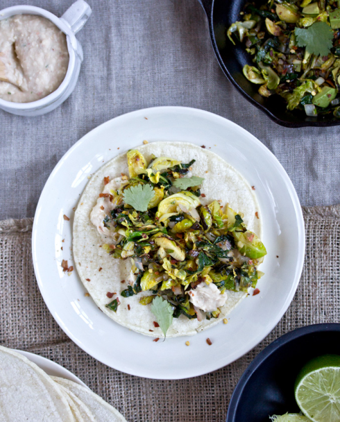 What's Cooking Good Looking: Crispy Kale + Brussel Sprout Tacos