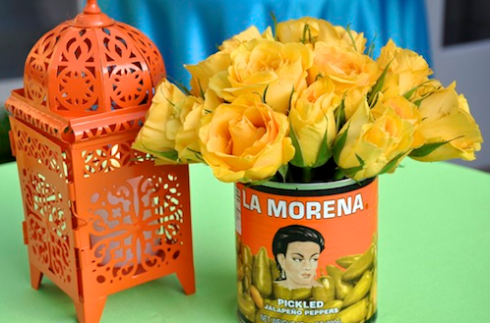 Flowers in Mexican can